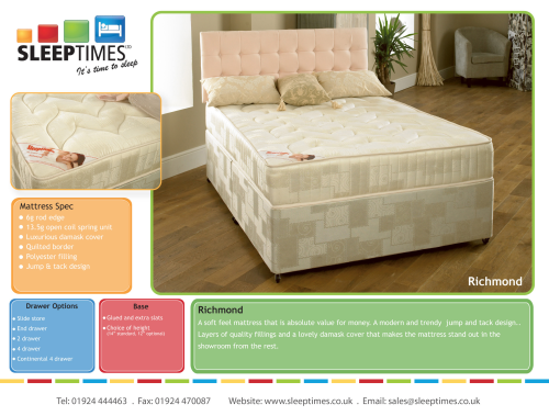 Richmond 3/4 4ft  small double divan set